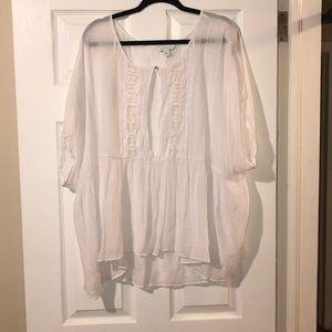 Boho Style White Top - Size 4X